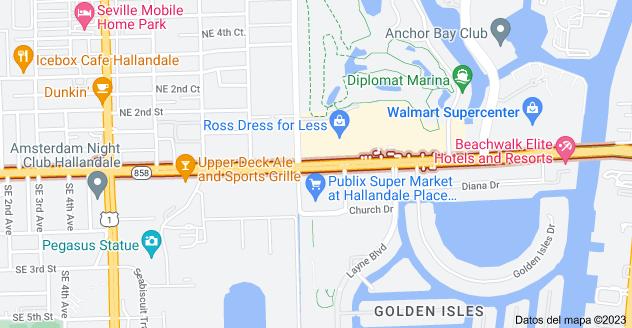 Mapa de E Hallandale Beach Blvd, Florida, EE. UU.
